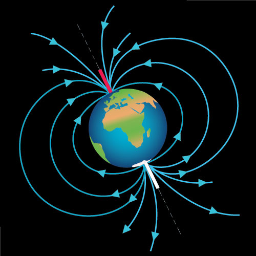 earths magnetic field Schematic illustration of the invisible magnetic field lines generated by the earth, represented as a dipole magnet field.